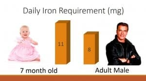 Daily Iron Requirements for babies vs. adult male