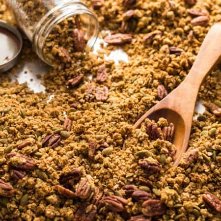 a sheet pan of pumpkin maple pecan granola