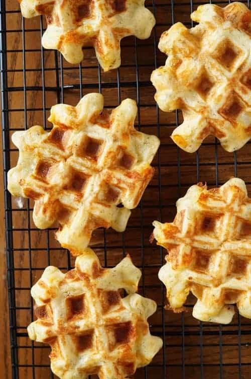 sourdough waffles on a cooling rack