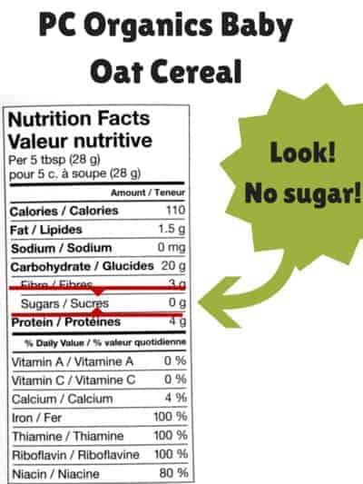 no sugar in infant cereal