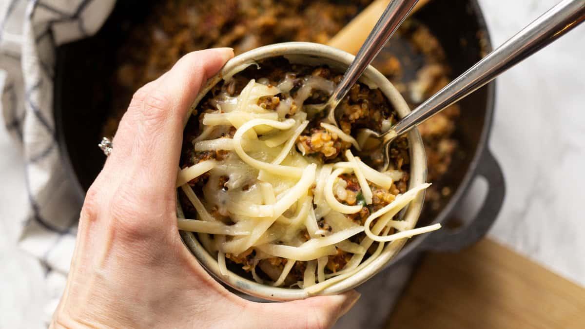 Mediterranean Lentils and Quinoa in a bowl with mozzarella cheese