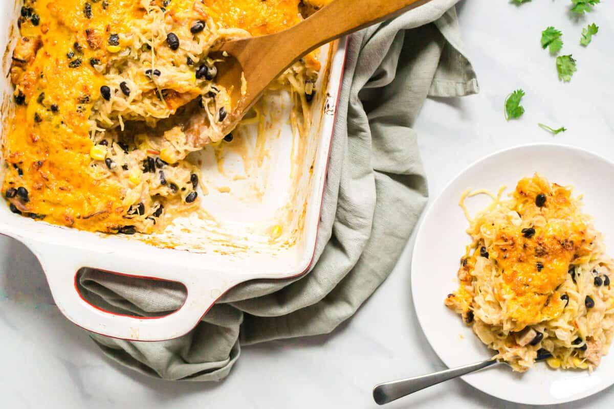Enchilada Casserole with Chicken and Spaghetti Squash