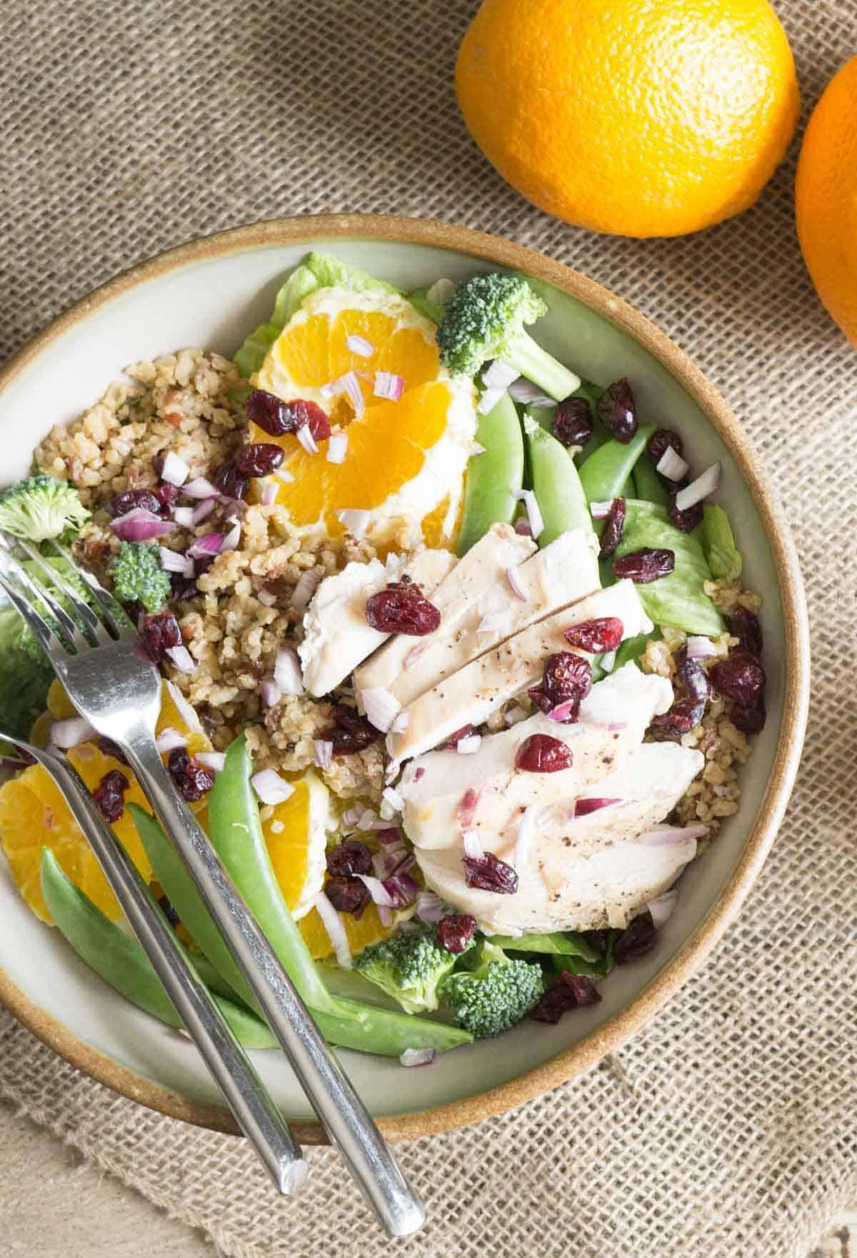 orange sesame chicken salad with quinoa - Smart Nutrition