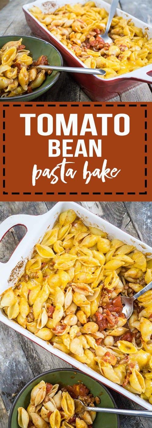 tomato bean pasta bake