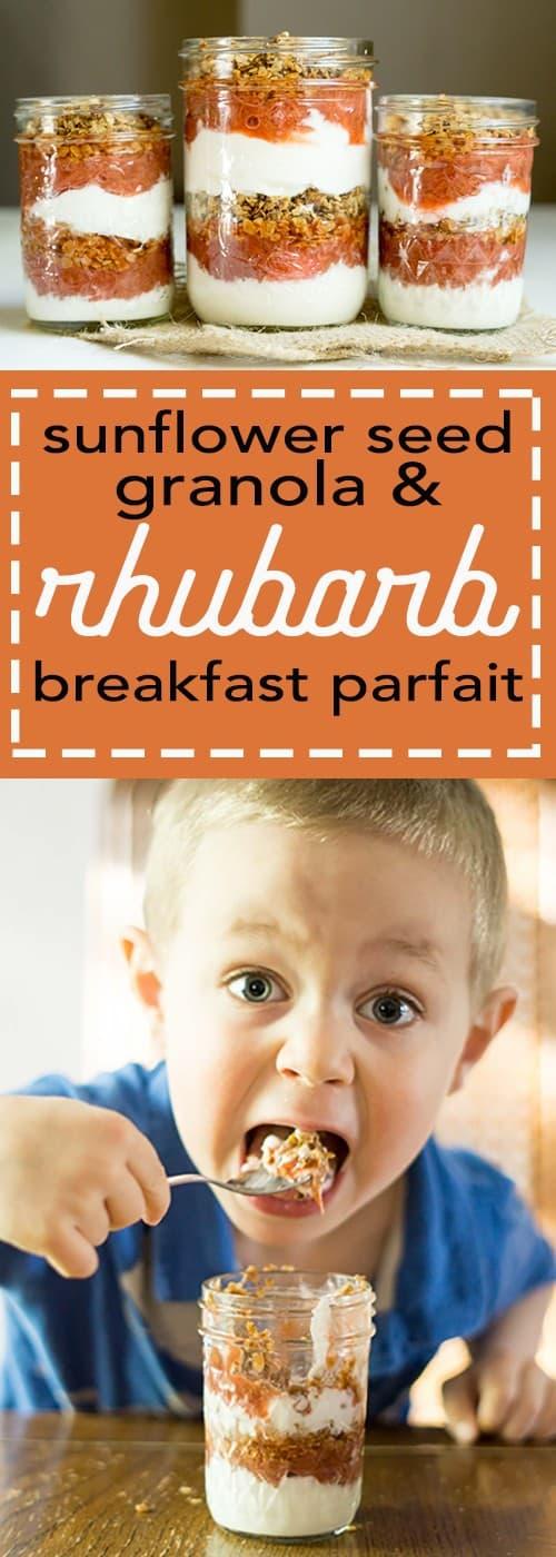 sunflower seed granola and rhubarb breakfast parfait