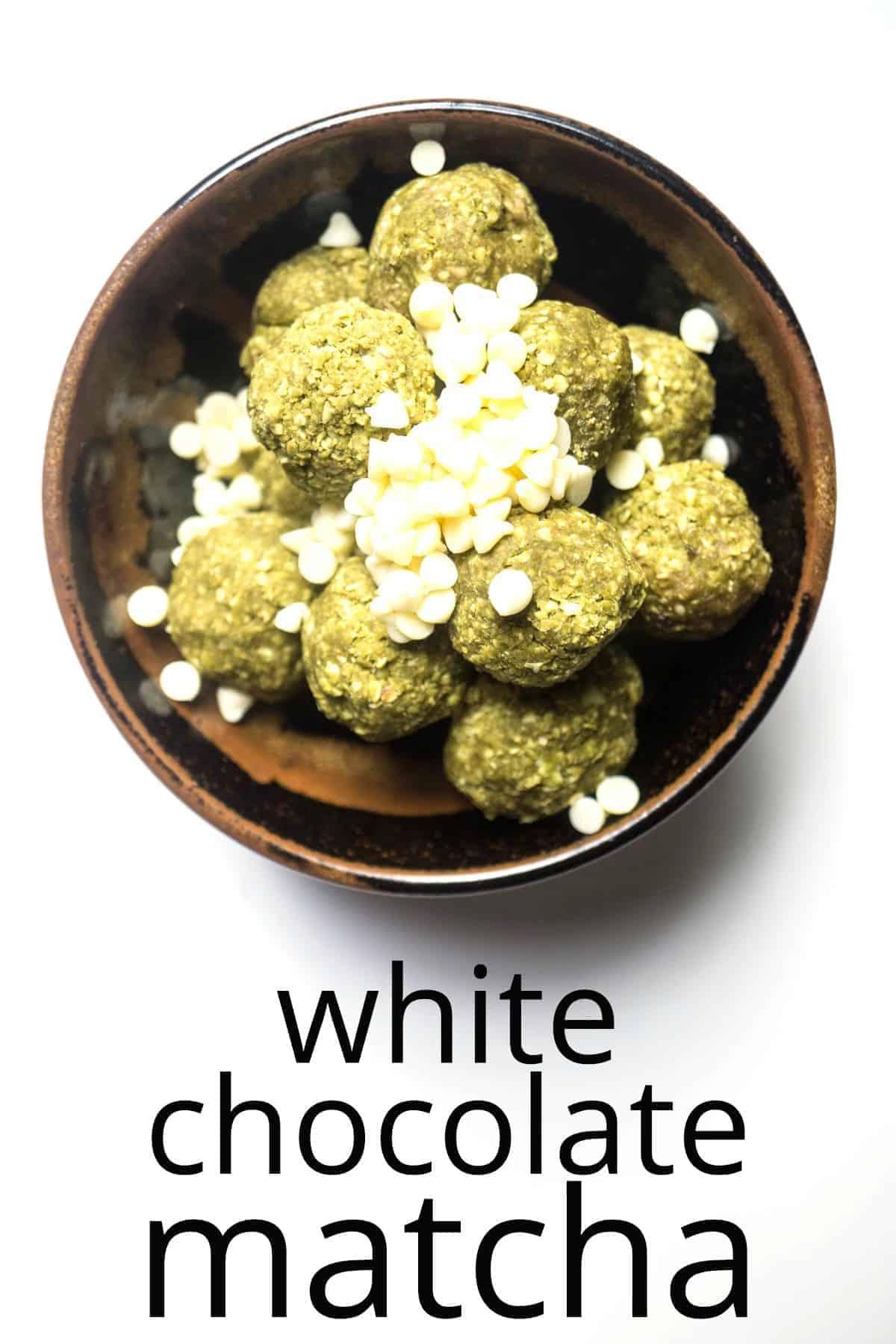 energy balls white chocolate matcha