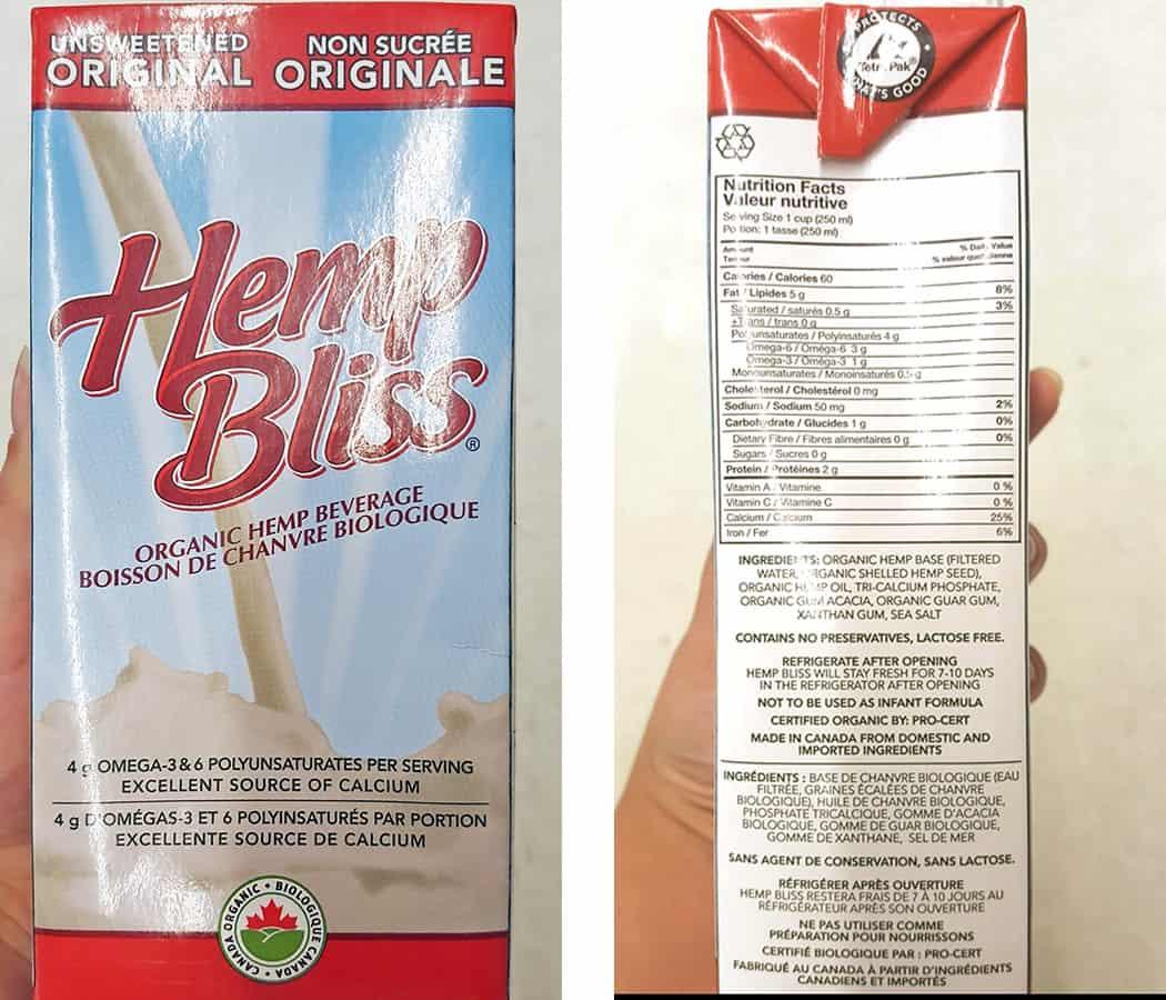 Milk alternatives - hemp milk