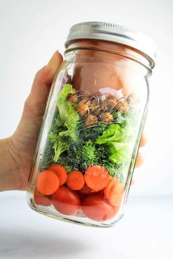 vegan kalamata salad in a jar