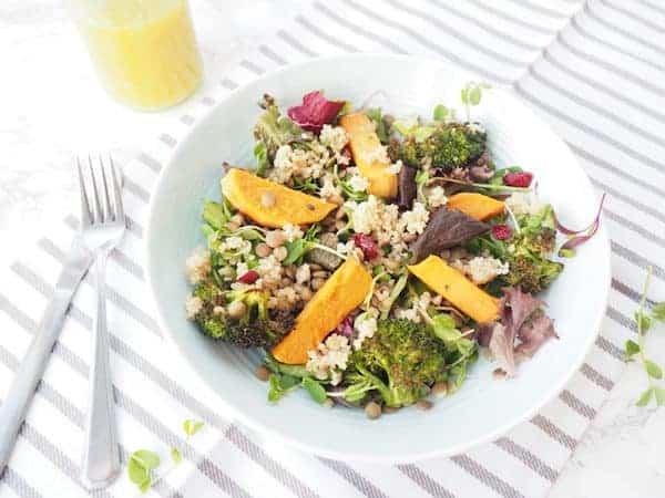 lentil roasted veggie salad in a jar