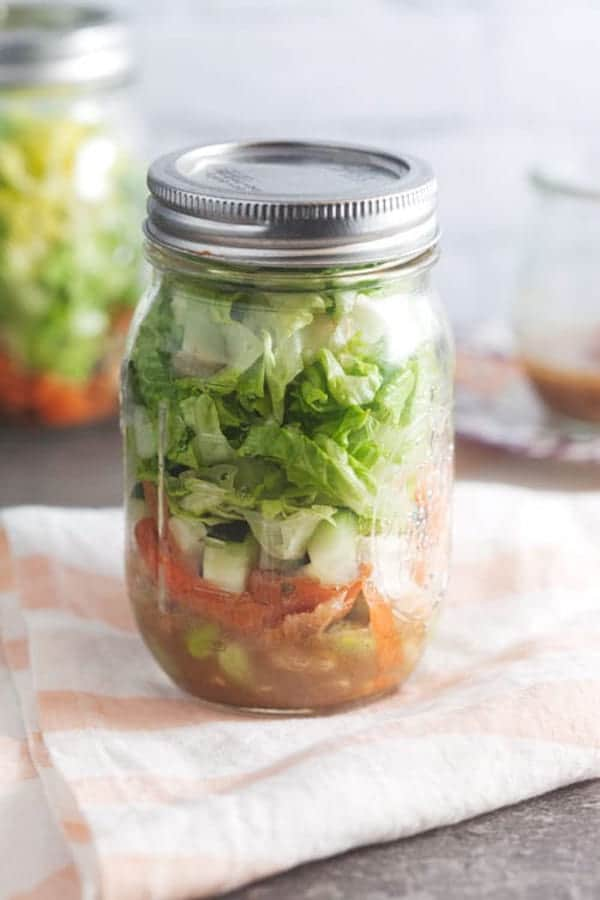 ginger miso salad in a jar