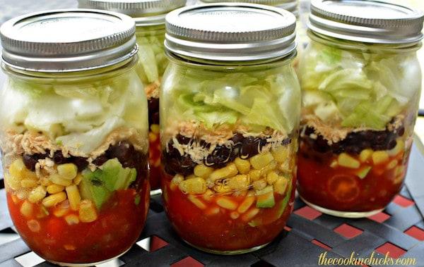 fiesta salad in a jar
