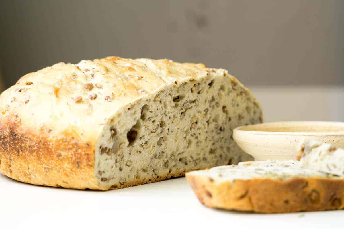 a photo of the bread from this herbed lentil sourdough sprouted bread recipe