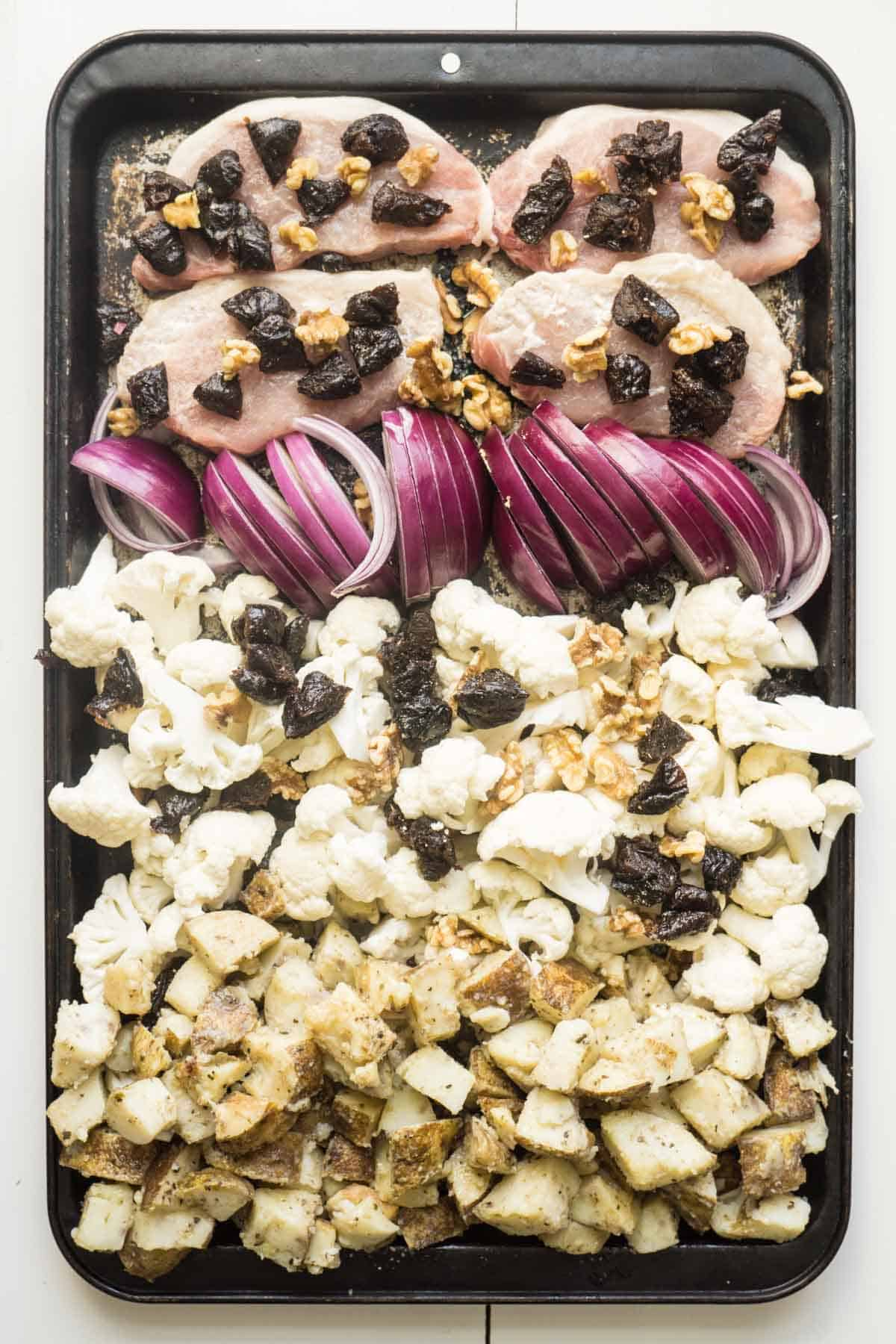 sheet pan dinner with pork and dried plums