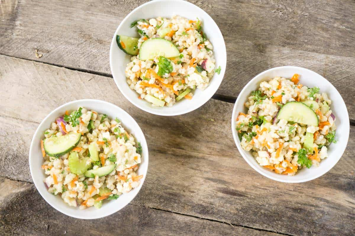 Barley Salad with a Lemon Garlic Dressing