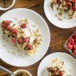 a healthy breakfast banana split, high in fibre & protein!