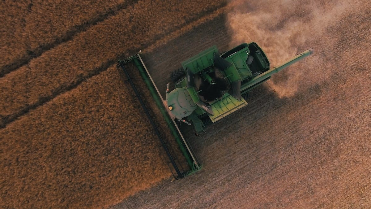 a tractor in a field - relevant to the food evolution documentary