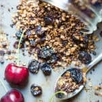 Chocolate Granola with Cherries and Quinoa #breakfast #healthybreakfast #glutenfreerecipes #veganrecipes #lovecrunch #granola