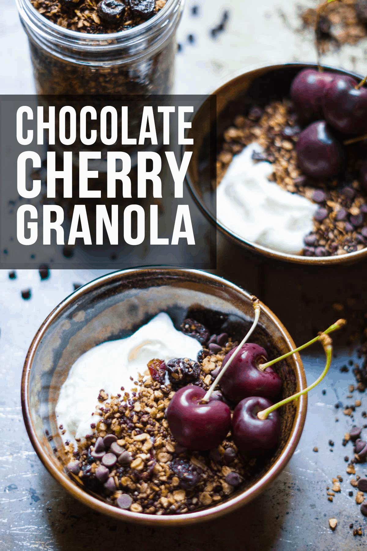 Chocolate Granola with Cherries and Quinoa | #granola #breakfast #healthybreakfast #granolarecipe #chocolate #glutenfreebreakfast #glutenfreerecipes #antiinflammatoryrecipes