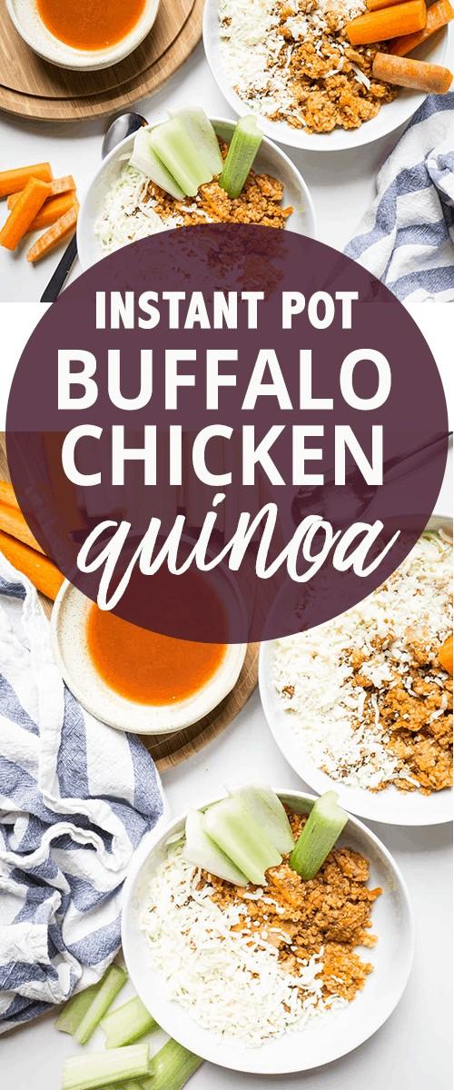 Instant Pot Buffalo Chicken Quinoa #glutenfree #onepotmeal #onedishmeal #pressurecooker #instantpot #easymeal #quickmeal