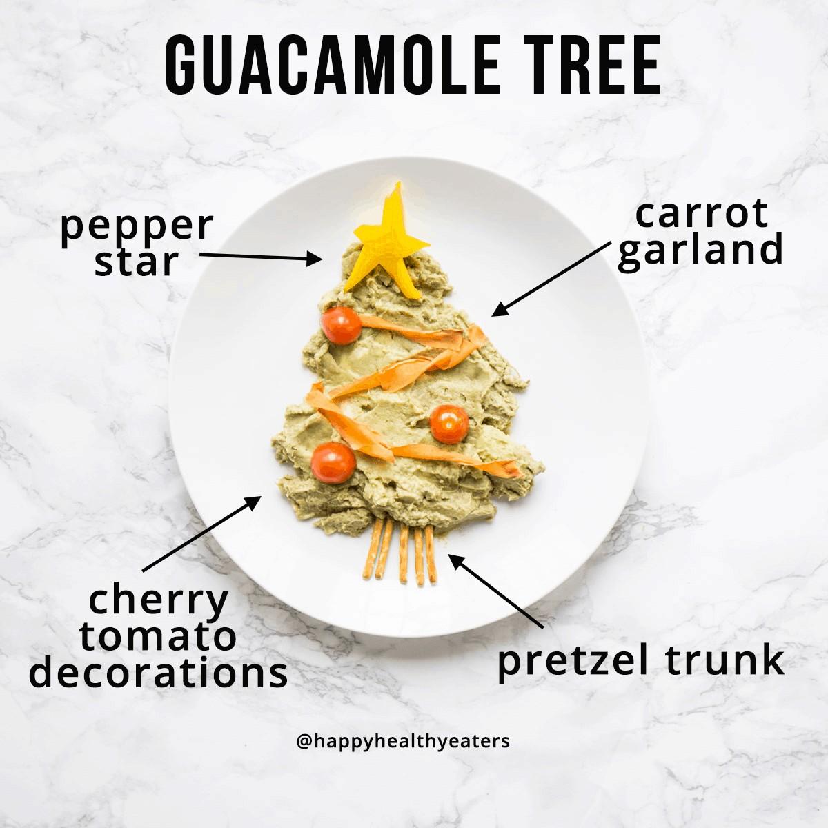 Christmas Snacks: Healthy and Easy! Guacamole Christmas Tree