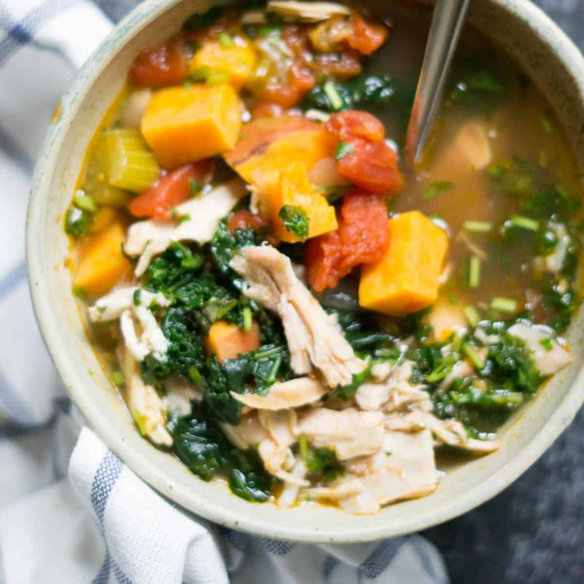 Chicken Kale Soup with Sweet Potato