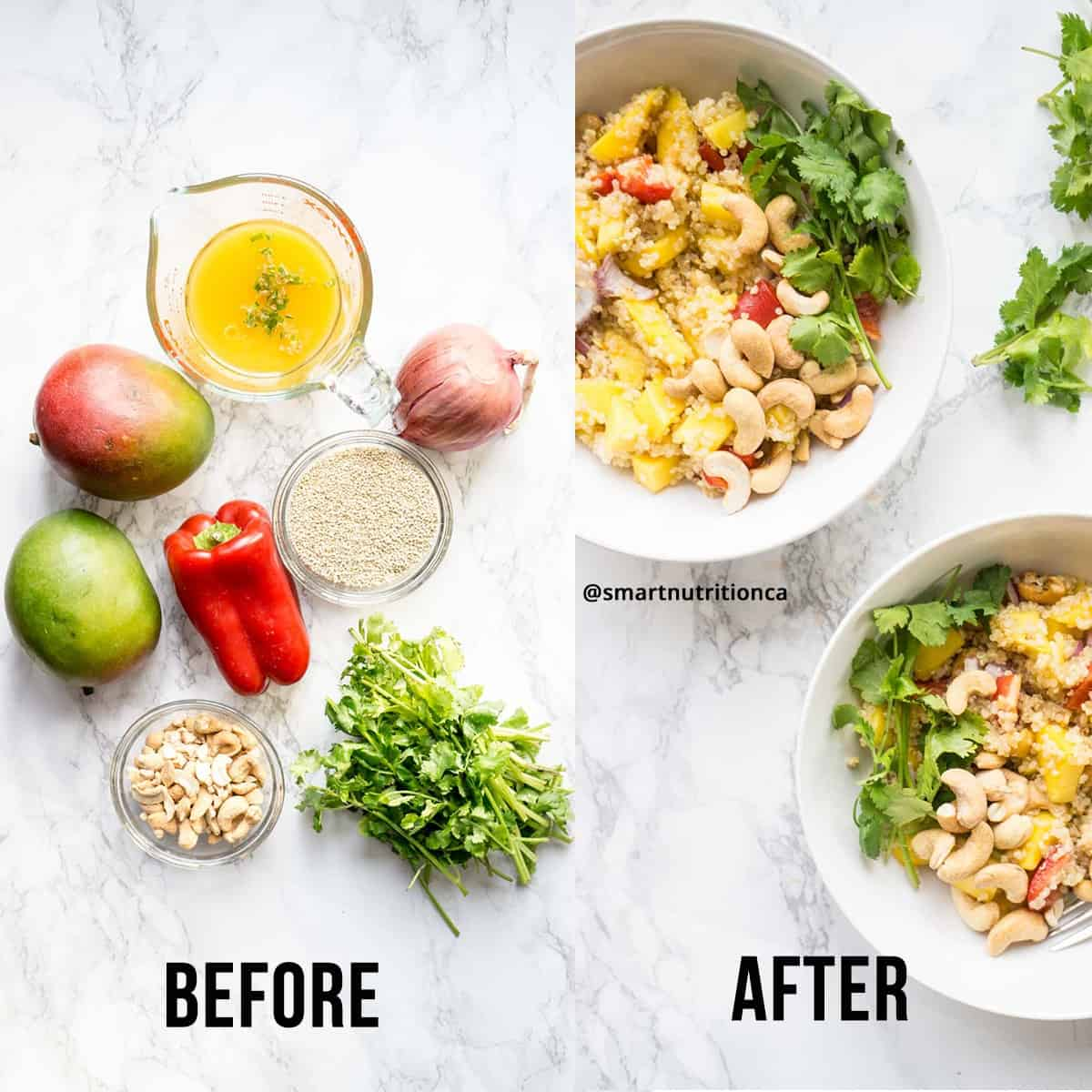 Mango Quinoa Salad before and after