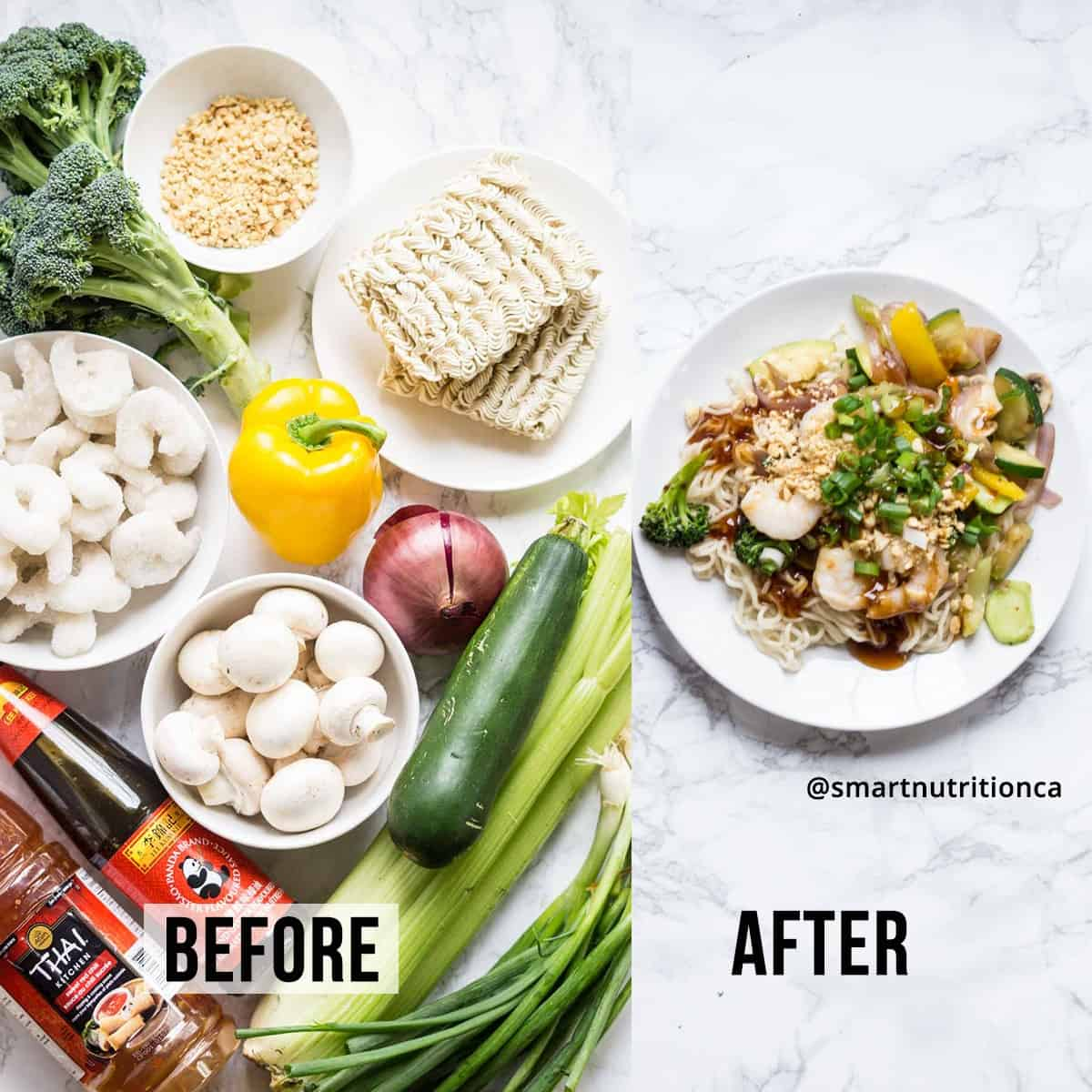 2 ingredient stirfry sauce before and after
