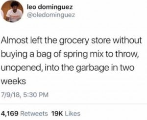 Almost left the grocery store without buying a bag of spring mix to throw, unopened, into the garbage in two weeks.