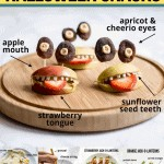 Healthy and easy Halloween snacks for kids including apple monsters, pancake spider web, pumpkin oranges, strawberry jack-o-lanterns, and a witch's broom cheese string.