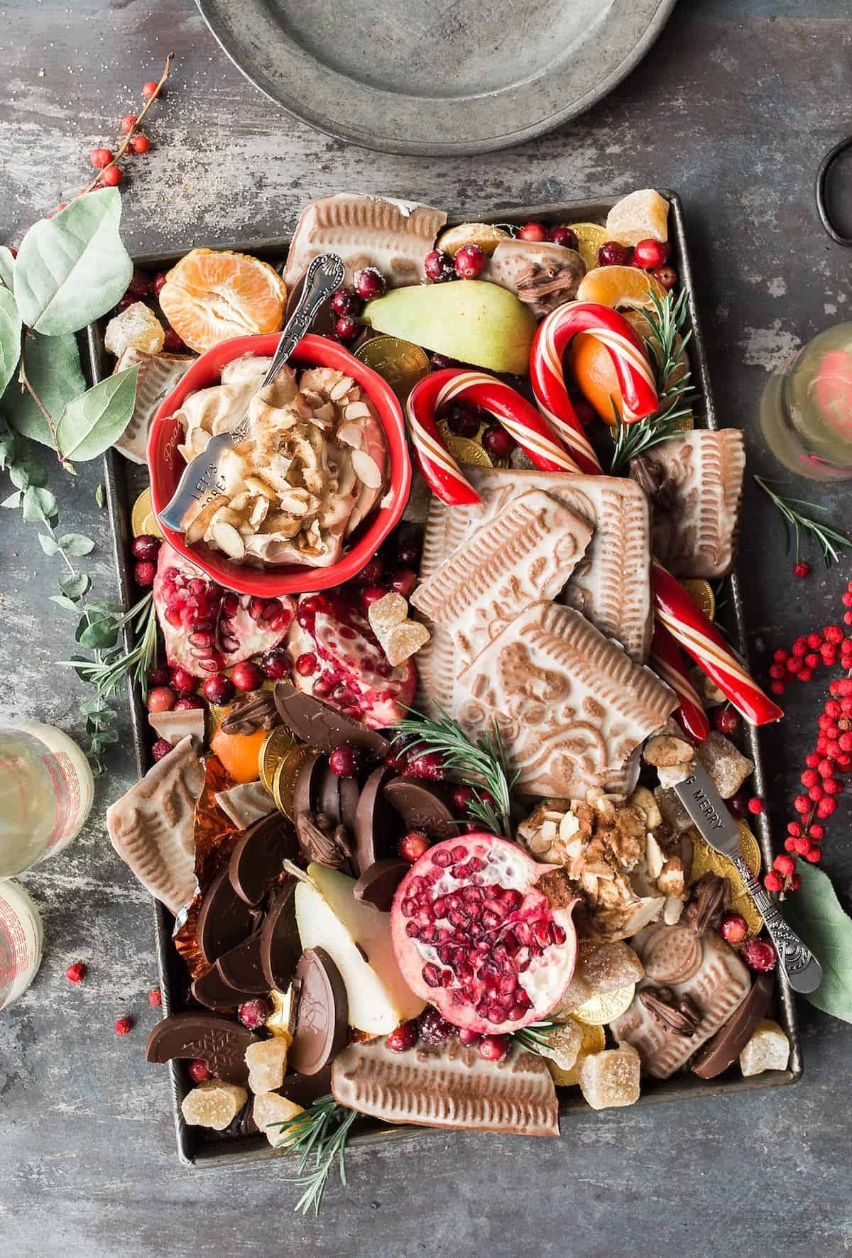 very full plate of traditional Christmas treats