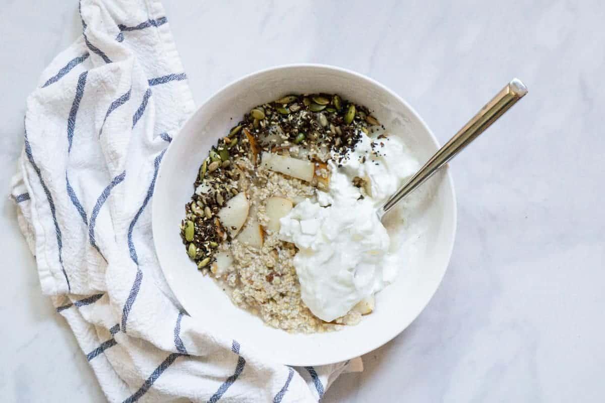 Bircher Muesli with plain yogurt