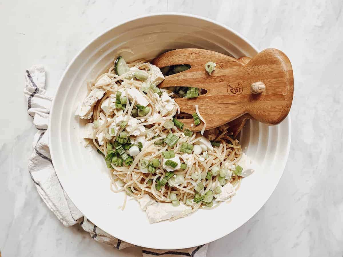 chilled cucumber sesame noodle dish with tofu