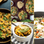 Collage of images of the supper club dinner meal plan for week two. Includes mexican quinoa, turky chili, pad thai, and baked egg ratatouille.