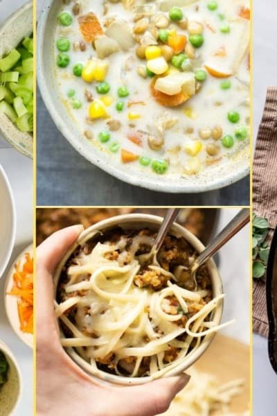 Collage of dinner recipes for supper club week 5