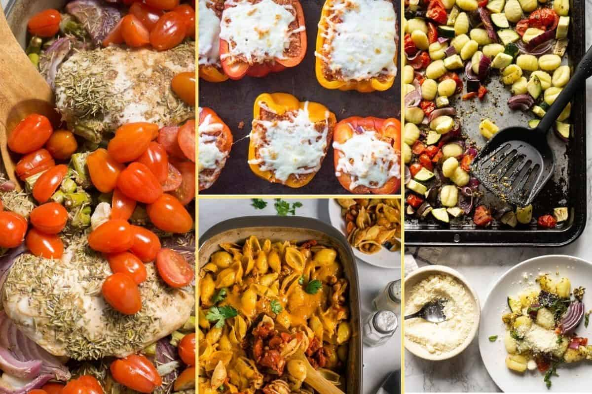 A collage of dinner recipes that make up the meal plan for week four.