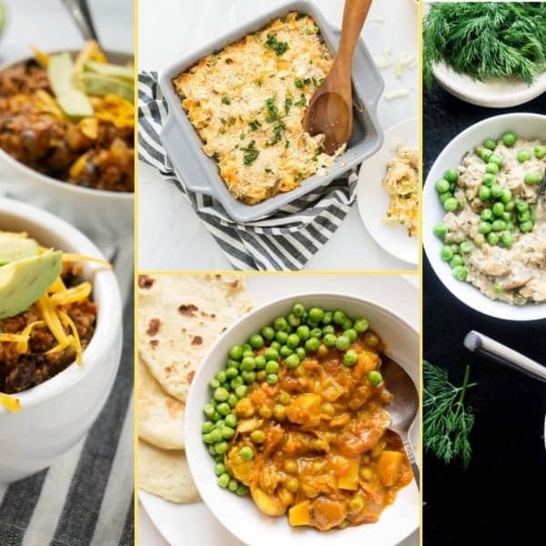 Collage of dinner images for supper club meal plan number 6