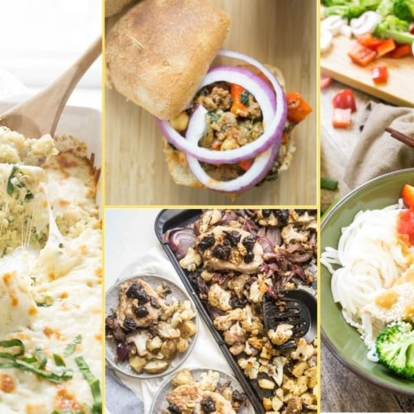 A collage of images of the dinner recipes in week 8's meal plan