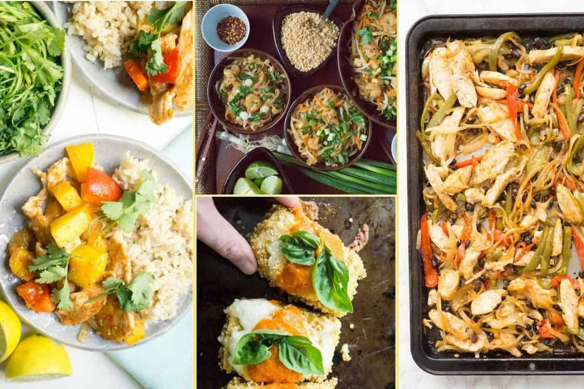 a collage of images of the suppers found in the supper club meal plan week 7